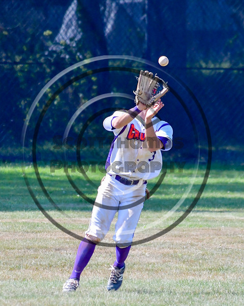 Cortland Crush Broderick Santilli (3) tracks down a fly ball for an out against the Sherrill Silversmiths on Greg's Field at Beaudry Park in Cortland, New York on Sunday, June 26, 2016. Cortland won 6-4.
