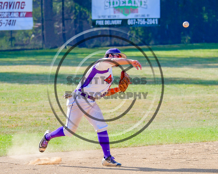 Cortland Crush David Murphy (8) throws the ball to First Base for an out against the Sherrill Silversmiths on Greg's Field at Beaudry Park in Cortland, New York on Sunday, June 26, 2016. Cortland won 6-4.
