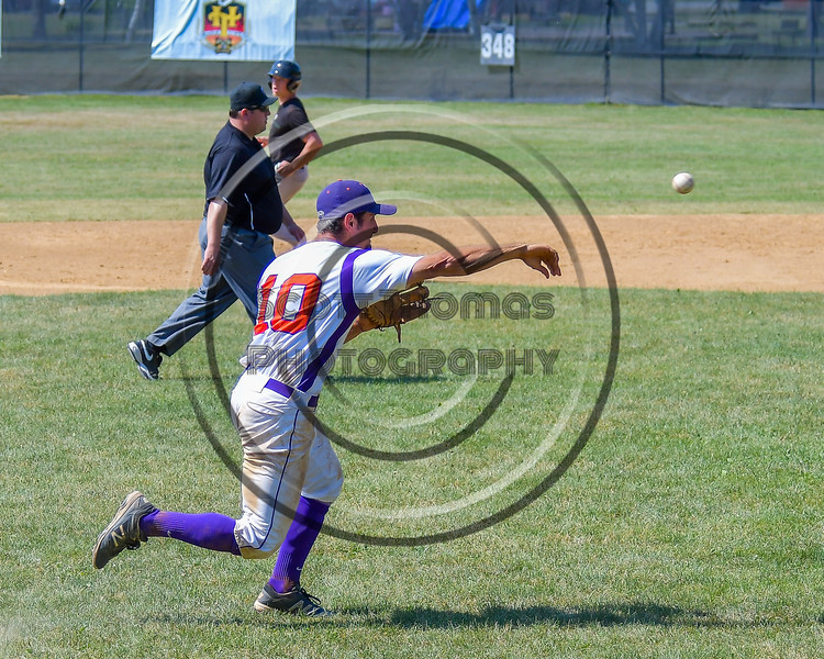 Cortland Crush Paul Ludden (10) throws the ball to First Base for an out against the Sherrill Silversmiths on Greg's Field at Beaudry Park in Cortland, New York on Sunday, June 26, 2016. Cortland won 6-4.