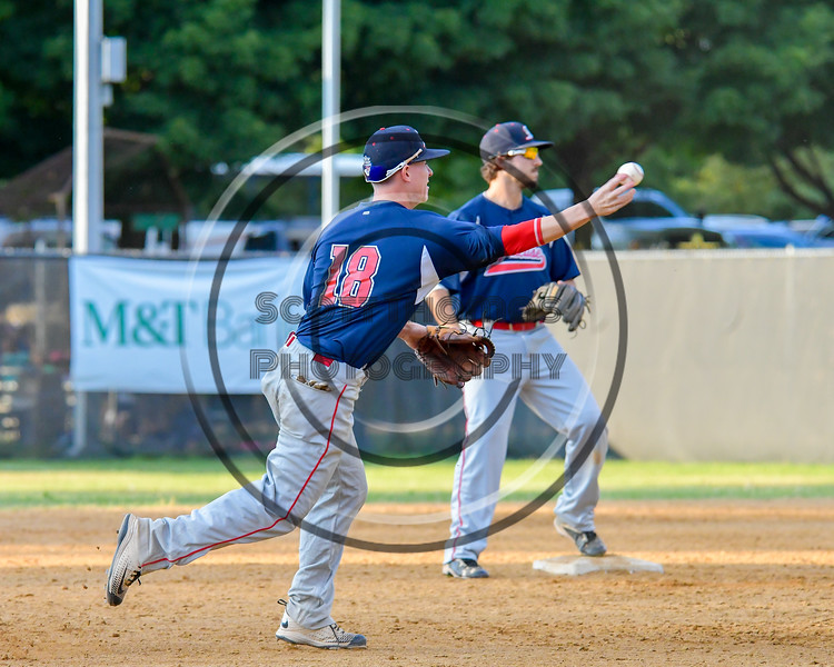 Syracuse Salt Cats James Thomas (18) throwing to First Base for an out against the  Cortland Crush on Greg's Field at Beaudry Park in Cortland, New York on Wednesday, June 29, 2016. Cortland won 5-4 in 13 innings.