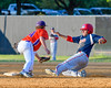 Cortland Crush Patrick Messinger (14) about to tag out Syracuse Salt Cats Anthony Galanoudis (9) who was trying to steal Second Base on Greg's Field at Beaudry Park in Cortland, New York on Wednesday, June 29, 2016. Cortland won 5-4 in 13 innings.