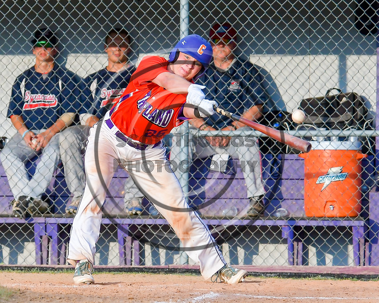 Cortland Crush TJ Wegmann (26) reaches out to foul off the ball to keep alive at the plate against the Syracuse Salt Cats on Greg's Field at Beaudry Park in Cortland, New York on Wednesday, June 29, 2016. Cortland won 5-4 in 13 innings.