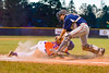 Cortland Crush George Haaland (34) gets tagged out by Syracuse Salt Cats Henry Pellicciotti (24) on Greg's Field at Beaudry Park in Cortland, New York on Wednesday, June 29, 2016. Cortland won 5-4 in 13 innings.