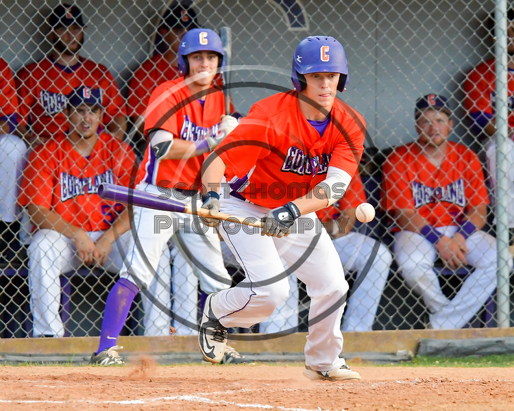 Cortland Crush Patrick Messinger (14) bunts the ball against the Syracuse Salt Cats on Greg's Field at Beaudry Park in Cortland, New York on Wednesday, June 29, 2016. Cortland won 5-4 in 13 innings.