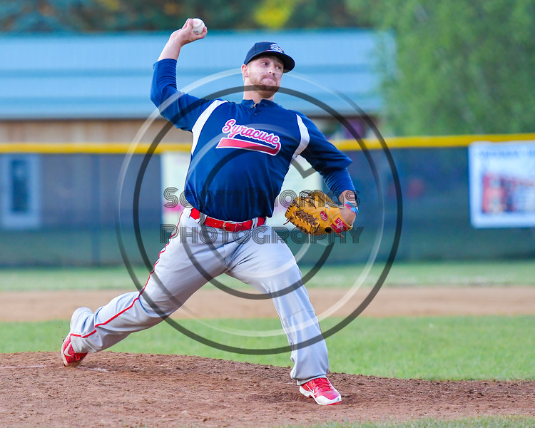 Syracuse Salt Cats Kyle Boarman (30) pitching against the  Cortland Crush on Greg's Field at Beaudry Park in Cortland, New York on Wednesday, June 29, 2016. Cortland won 5-4 in 13 innings.