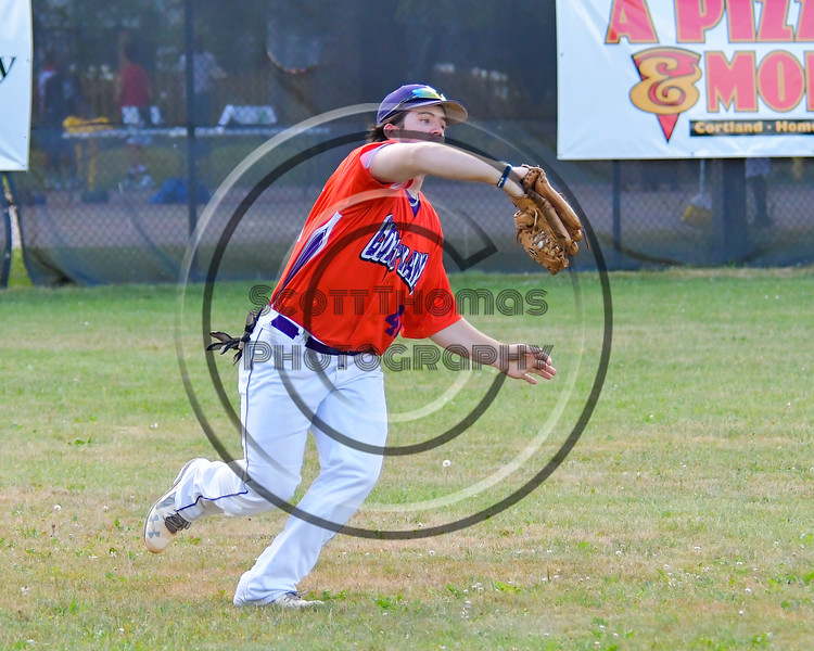 Cortland Crush Clayton Jeffries (42) catches the ball for an out against the Syracuse Salt Cats on Greg's Field at Beaudry Park in Cortland, New York on Wednesday, June 29, 2016. Cortland won 5-4 in 13 innings.