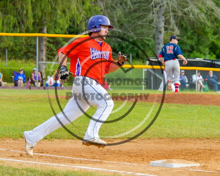 Cortland Crush Clayton Jeffries (42) running the bases against the Syracuse Salt Cats on Greg's Field at Beaudry Park in Cortland, New York on Wednesday, June 29, 2016. Cortland won 5-4 in 13 innings.