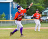 Cortland Crush William Ginsberg (30) throwing the ball to First Base for an out against the Syracuse Salt Cats on Greg's Field at Beaudry Park in Cortland, New York on Wednesday, June 29, 2016. Cortland won 5-4 in 13 innings.