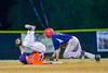 Cortland Crush Patrick Messinger (14) looses his balance trying to stop the ball thrown from the catcher against the Syracuse Salt Cats on Greg's Field at Beaudry Park in Cortland, New York on Wednesday, June 29, 2016. Cortland won 5-4 in 13 innings.