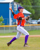 Cortland Crush William Ginsberg (30) throwing the ball to First Base against the Syracuse Salt Cats on Greg's Field at Beaudry Park in Cortland, New York on Wednesday, June 29, 2016. Cortland won 5-4 in 13 innings.