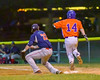 Cortland Crush Patrick Messinger (14) reaches First Base after the ball gets past Syracuse Salt Cats Joseph Anselmi (22) on Greg's Field at Beaudry Park in Cortland, New York on Wednesday, June 29, 2016. Cortland won 5-4 in 13 innings.