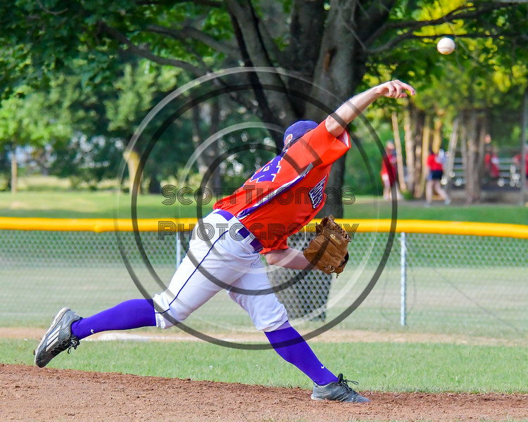 Cortland Crush Nathan Verst (24) pitching against the Syracuse Salt Cats on Greg's Field at Beaudry Park in Cortland, New York on Wednesday, June 29, 2016. Cortland won 5-4 in 13 innings.