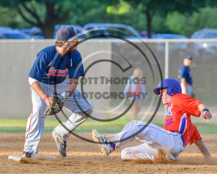 Cortland Crush TJ Wegmann (26) is forced out trying to steal Second Base on Syracuse Salt Cats Christian Sanchez (5) on Greg's Field at Beaudry Park in Cortland, New York on Wednesday, June 29, 2016. Cortland won 5-4 in 13 innings.