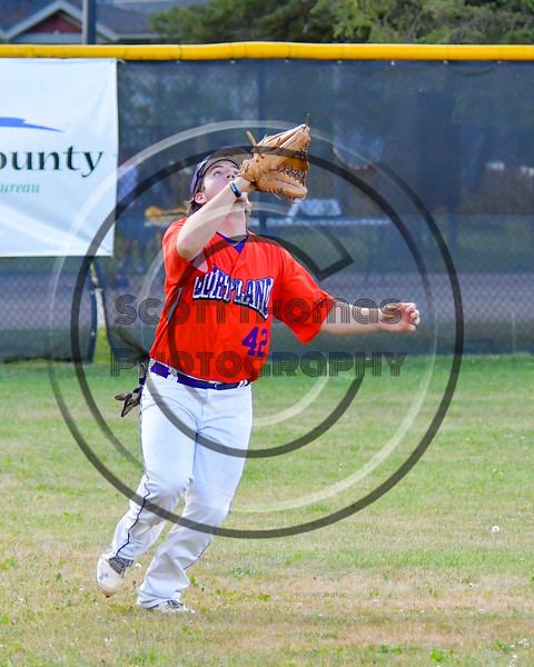 Cortland Crush Clayton Jeffries (42) tracking down a fly ball against the Syracuse Salt Cats on Greg's Field at Beaudry Park in Cortland, New York on Wednesday, June 29, 2016. Cortland won 5-4 in 13 innings.