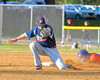 Syracuse Salt Cats Christian Sanchez (5) unable to control a throw from the catcher against the  Cortland Crush on Greg's Field at Beaudry Park in Cortland, New York on Wednesday, June 29, 2016. Cortland won 5-4 in 13 innings.