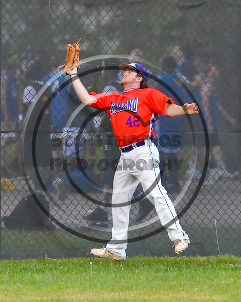 Cortland Crush Clayton Jeffries (42) catches a ball for an out against the Syracuse Salt Cats on Greg's Field at Beaudry Park in Cortland, New York on Wednesday, June 29, 2016. Cortland won 5-4 in 13 innings.