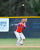 Cortland Crush Greg Mula (1) about to catch in in-field fly for an out against the Syracuse Salt Cats on Greg's Field at Beaudry Park in Cortland, New York on Wednesday, June 29, 2016. Cortland won 5-4 in 13 innings.