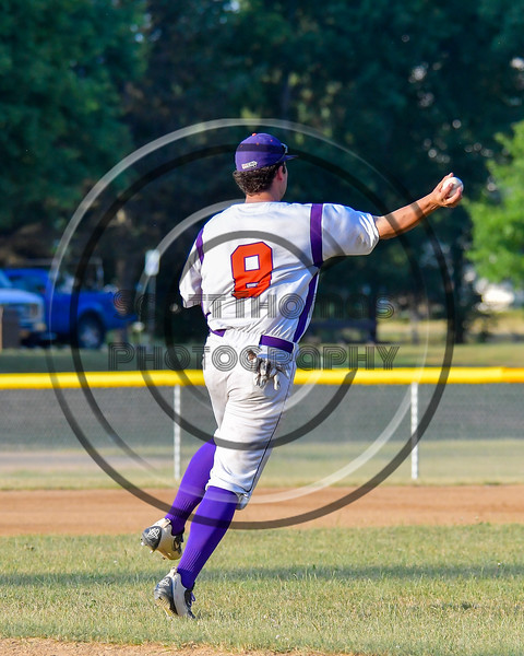 Cortland Crush David Murphy (8) throwing the ball to First Base for an out against the Rome Generals on Greg's Field at Beaudry Park in Cortland, New York on Wednesday, July 6, 2016. Cortland won 7-2.