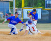 Cortland Crush Greg Mula (1) gets tagged out at Second Base by Rome Generals Sergio Osorio (8) on Greg's Field at Beaudry Park in Cortland, New York on Wednesday, July 6, 2016. Cortland won 7-2.