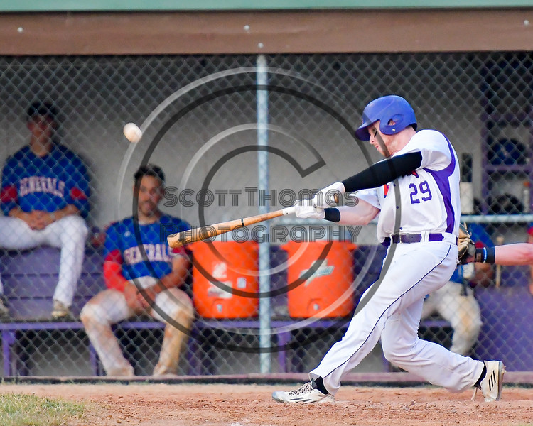 Cortland Crush Derek Martin (29) connects for a Home Run against the Rome Generals on Greg's Field at Beaudry Park in Cortland, New York on Wednesday, July 6, 2016. Cortland won 7-2.