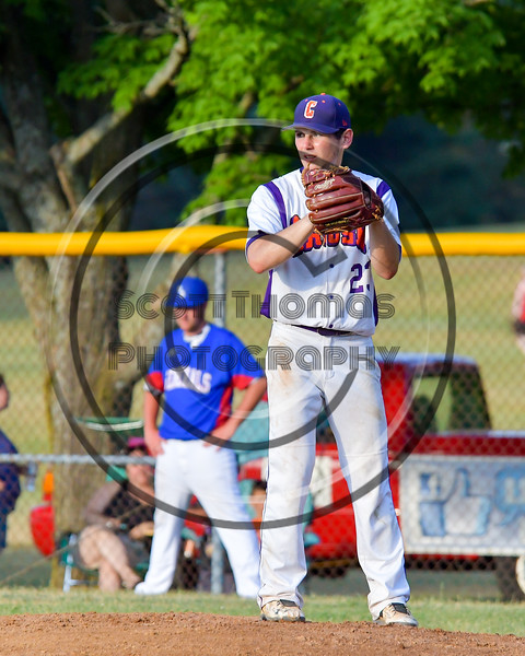 Cortland Crush Andrew Cartier (23) checking the Rome Generals base runner on Greg's Field at Beaudry Park in Cortland, New York on Wednesday, July 6, 2016. Cortland won 7-2.