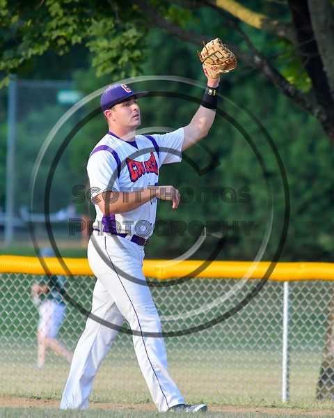 Cortland Crush TJ Wegmann (26) catches a ball for an out against the Rome Generals on Greg's Field at Beaudry Park in Cortland, New York on Wednesday, July 6, 2016. Cortland won 7-2.