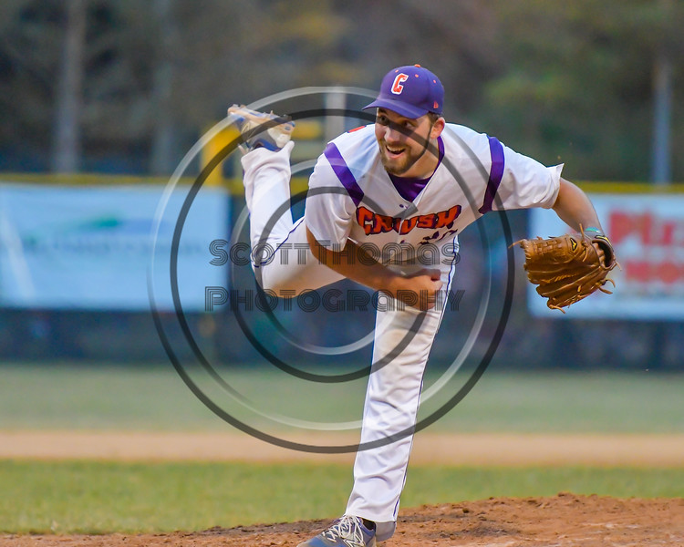 Cortland Crush Tommy Seaver (20) after throwing a pitch against the Rome Generals on Greg's Field at Beaudry Park in Cortland, New York on Wednesday, July 6, 2016. Cortland won 7-2.