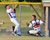 Cortland Crush Ethan Moore (36) and TJ Wegmann (26) attempt to catch a foul ball against the Rome Generals on Greg's Field at Beaudry Park in Cortland, New York on Wednesday, July 6, 2016. Cortland won 7-2.