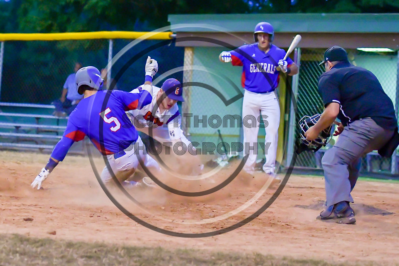 Cortland Crush Derek Martin (29) tags out Rome Generals Marc DiLeo (5) at Home Plate on Greg's Field at Beaudry Park in Cortland, New York on Wednesday, July 6, 2016. Cortland won 7-2.