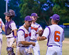 Cortland Crush Manager Bill McConnell greets his players after getting the Rome Generals out on Greg's Field at Beaudry Park in Cortland, New York on Wednesday, July 6, 2016. Cortland won 7-2.