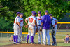 Cortland Crush Pitching Coach Daniel Payne (44) talks with the pitcher and players during a timeout against the Rome Generals on Greg's Field at Beaudry Park in Cortland, New York on Wednesday, July 6, 2016. Cortland won 7-2.