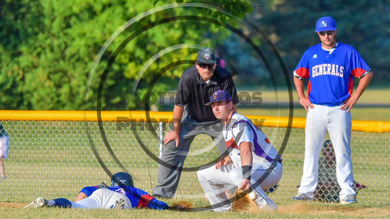 Cortland Crush Ethan Moore (36) scoops up a thrwo from the picther at First Base against the Rome Generals on Greg's Field at Beaudry Park in Cortland, New York on Wednesday, July 6, 2016. Cortland won 7-2.