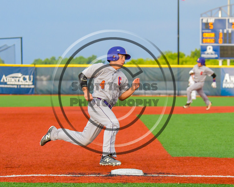 Cortland Crush Joey Assenza (4) running the bases against the Syracuse Salt Cats at OCC Turf Field in Syracuse, New York on Friday, July 8, 2016. Cortland won 10-4.