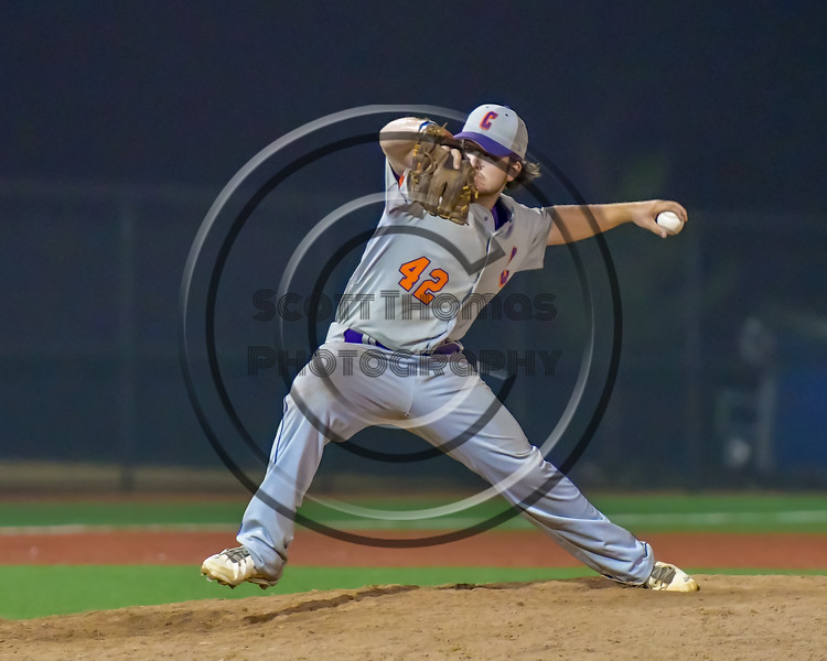 Cortland Crush Clayton Jeffries (42) pitching against the Syracuse Salt Cats at OCC Turf Field in Syracuse, New York on Friday, July 8, 2016. Cortland won 10-4.