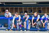 Cortland Crush players in the Dugout during a game against the Syracuse Salt Cats at OCC Turf Field in Syracuse, New York on Friday, July 8, 2016. Cortland won 10-4.