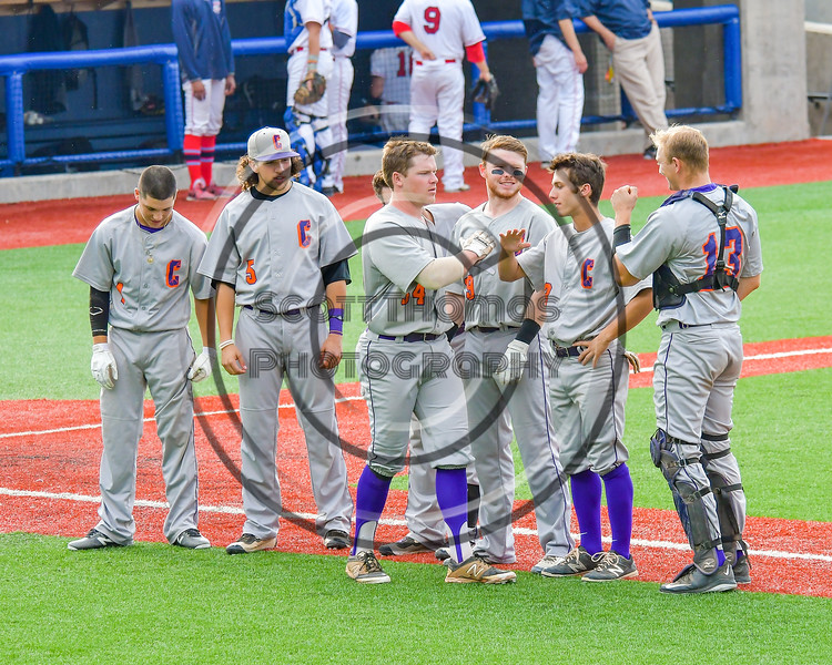 Cortland Crush George Haaland (34) being introduced before playing the Syracuse Salt Cats at OCC Turf Field in Syracuse, New York on Friday, July 8, 2016.