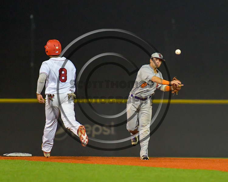 Cortland Crush David Murphy (8) throwing the ball to First Base against the Syracuse Salt Cats at OCC Turf Field in Syracuse, New York on Friday, July 8, 2016. Cortland won 10-4.