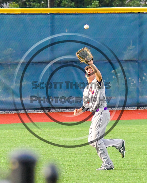 Cortland Crush Joey Assenza (4) tracks down a fly ball for an out against the Syracuse Salt Cats at OCC Turf Field in Syracuse, New York on Friday, July 8, 2016. Cortland won 10-4.