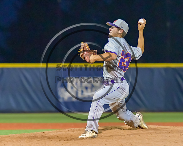 Cortland Crush Andrew Cartier (23) pitching against the Syracuse Salt Cats at OCC Turf Field in Syracuse, New York on Friday, July 8, 2016. Cortland won 10-4.