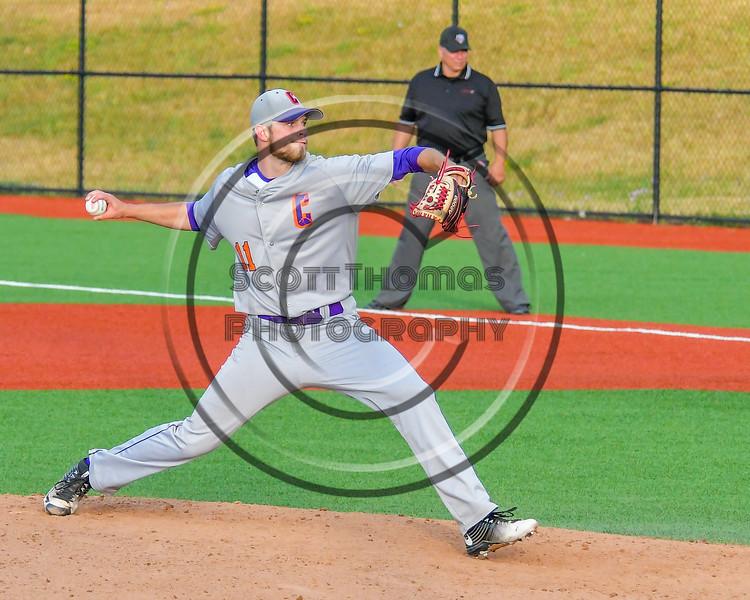 Cortland Crush Cody Shelton (11) pitching against the Syracuse Salt Cats at OCC Turf Field in Syracuse, New York on Friday, July 8, 2016. Cortland won 10-4.