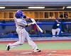 Cortland Crush Luke Gilbert (5) hits the balla against the Syracuse Salt Cats at OCC Turf Field in Syracuse, New York on Friday, July 8, 2016. Cortland won 10-4.