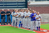 Cortland Crush stand for the National Anthem before playing the Syracuse Salt Cats at OCC Turf Field in Syracuse, New York on Friday, July 8, 2016.