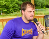 Cortland Crush Director of Media and Game Day Operations Sam Bloomquist at the mike on Greg's Field at Beaudry Park in Cortland, New York on Wednesday, July 16, 2016.