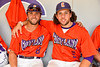 Cortland Crush players David Murphy (8) and Luke Gilbert (5) in the dugout on Greg's Field at Beaudry Park in Cortland, New York on Wednesday, July 16, 2016.
