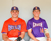Cortland Crush players Ethan Moore (16) and Patrick Messinger (14) in the dugout on Greg's Field at Beaudry Park in Cortland, New York on Wednesday, July 16, 2016.