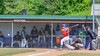 Cortland Crush George Haaland (34) hets a hit against the Sherrill Silversmiths on Greg's Field at Beaudry Park in Cortland, New York on Thursday, July 21, 2016. Cortland won 3-2.