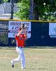 Cortland Crush Broderick Santilli (3) about to catch a fly ball for an out against the Sherrill Silversmiths on Greg's Field at Beaudry Park in Cortland, New York on Thursday, July 21, 2016. Cortland won 3-2.