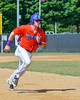 Cortland Crush George Haaland (34) running the bases against the Sherrill Silversmiths on Greg's Field at Beaudry Park in Cortland, New York on Thursday, July 21, 2016. Cortland won 3-2.