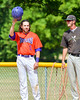 Cortland Crush Luke Gilbert (5) tips his cap after becoming the Crush's all-time hit leader on Greg's Field at Beaudry Park in Cortland, New York on Thursday, July 21, 2016.