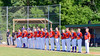Cortland Crush players during the National Anthem before playing the Syracuse Junior Chiefs on Greg's Field in the NYCBL Eastern Division playoffs at Beaudry Park in Cortland, New York on Thursday, July 27, 2016.